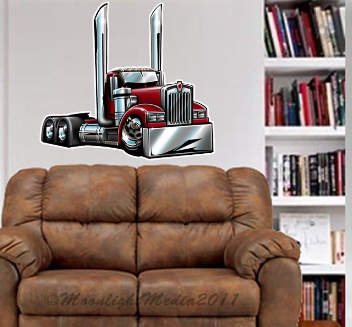 Kenworth-Semi-Truck-Cartoontees-WALL-GRAPHIC-DECAL-2015-MAN-CAVE-GARAGE-MURAL