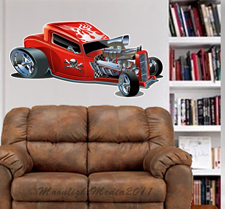 Hot Man Cave : S hot rod roadster wall decal man cave room fat mural