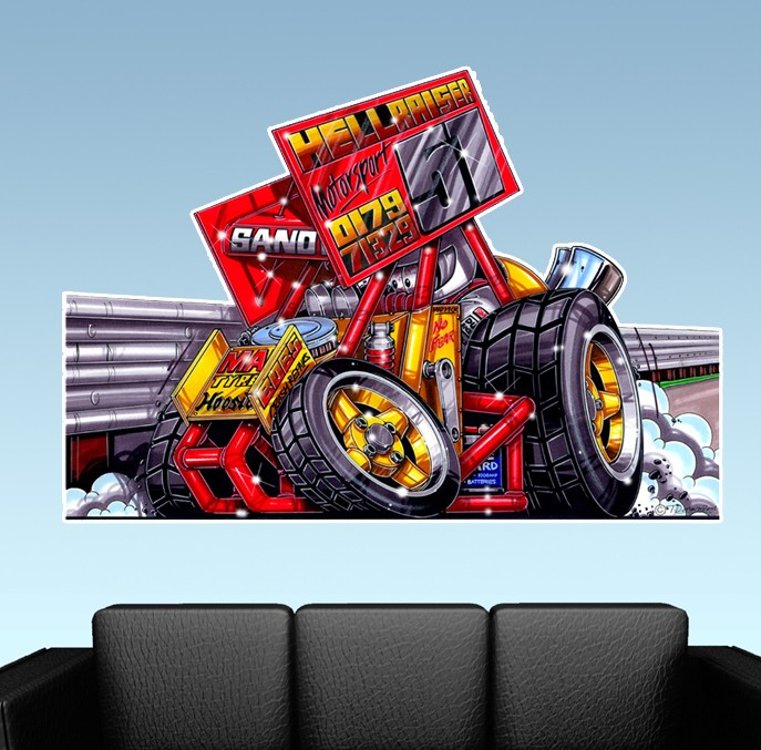 Image Is Loading Sprint Car Race Car WALL DECAL MAN CAVE