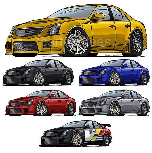 Cadillac Cts Sales: Cadillac CTS-V Cartoon Tshirt #0537 GA Muscle Car Auto