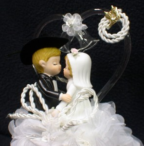 Country Western Cowboy Lasso Of Love Glass Wedding Cake Topper Funny Barn