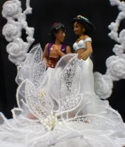 Aladdin Amp Jasmin Wedding Cake Topper LOT Glasses Knife Server Guest Book DISNEY
