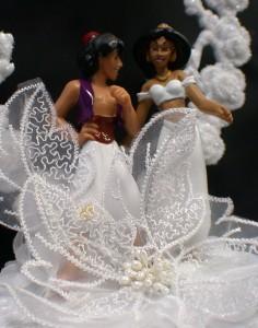 Aladdin & Jasmin Wedding Cake Topper LOT Glasses knife ...