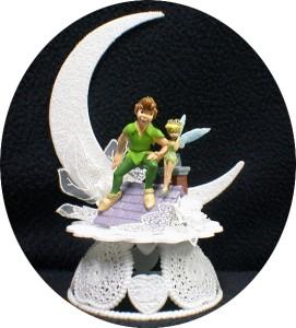 DISNEY Tinkerbell Peter Pan Wedding Cake Topper LOT Glasses Knife Guest Book SET