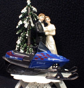 Snowmobile Wedding Cake Topper