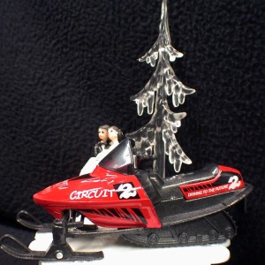 Winter Wonderland Sport Snowmobile Wedding Cake Topper Red