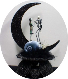 Beautiful wedding cake for a celebration Nightmare before