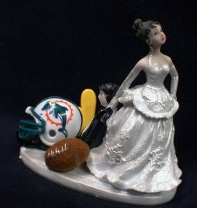 NFL Miami Dolphins Football Wedding Cake Topper Bride Groom Figurine Funny Top