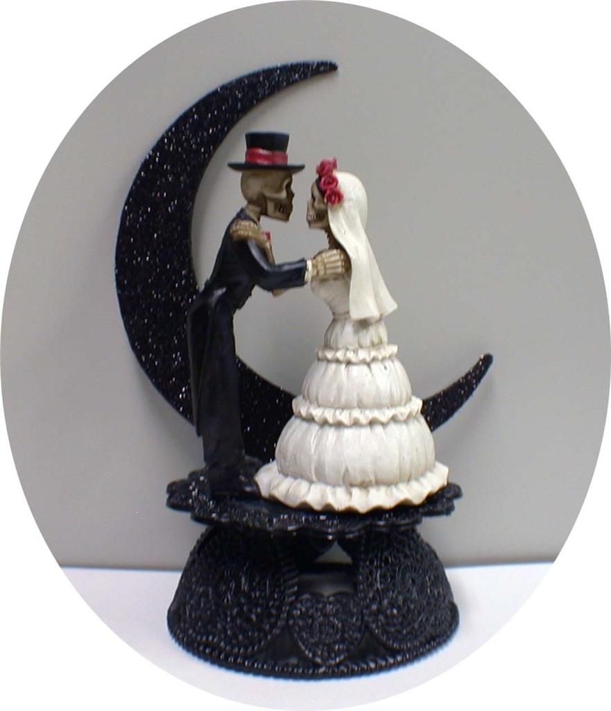 day of the dead halloween wedding cake topper funny skeleton bride