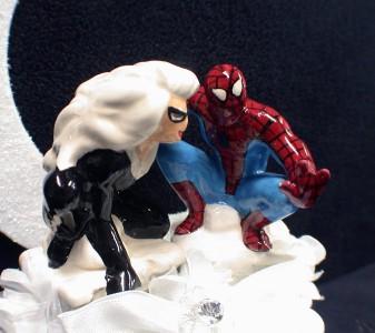 Spiderman Groom Cat Wonmen Bride Wedding Cake Topper Top