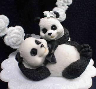 Playful Panda Bear Wedding Cake Topper Top Heart Funny ...