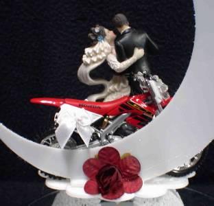 Off Road Dirt Bike Motorcycle Wedding Cake Topper Honda Racing Moonlight Dance