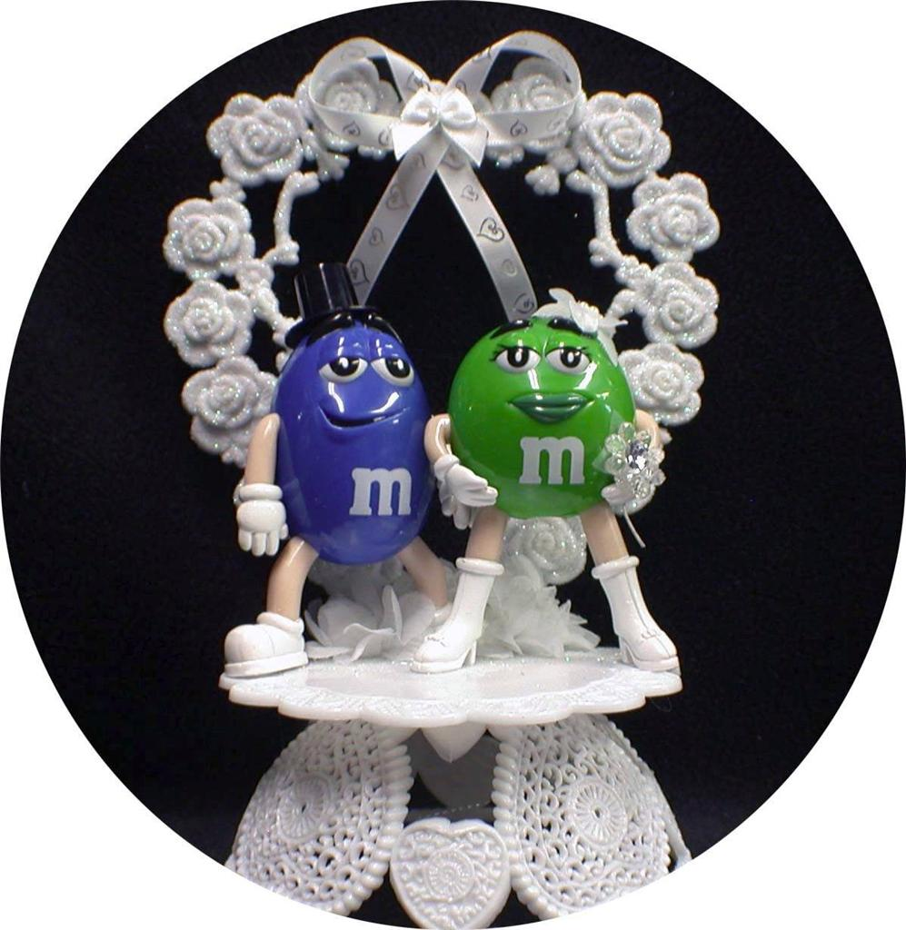 MampM M Amp M Candy Wedding Cake Topper Lot Glasses Knife Server Guest Book Garter