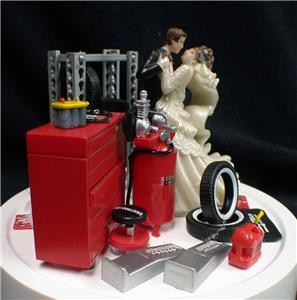Car Auto Mechanic Wedding Cake Topper Bride Groom Top