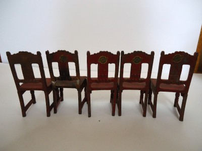 Old Antique Arcade Cast Iron Dollhouse Table Chairs