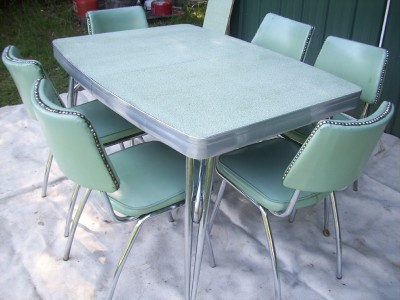 Retro 1950 39 s vtg chrome formica table 6 chairs kitchen - Vintage formica kitchen table and chairs ...