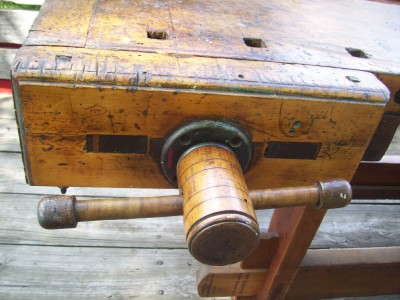 kitchen table vise primitive wide board square nailed work bench table vise antique. Black Bedroom Furniture Sets. Home Design Ideas