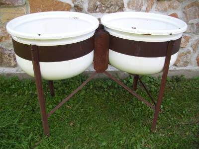 ... about Antique Double Vtg Enamel WASH TUBS Garden Planter w/STAND