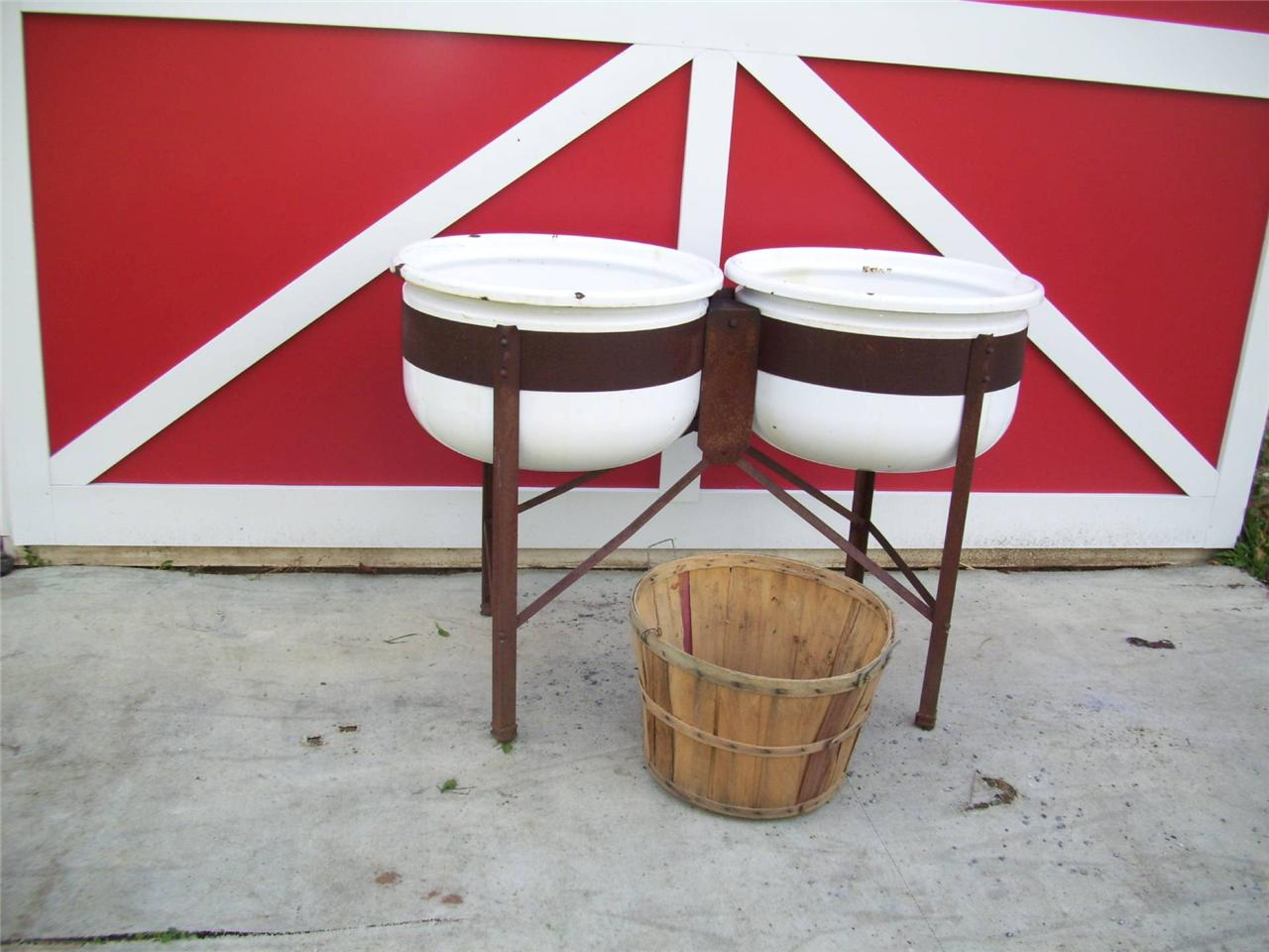 Wash Tub With Stand : ... about Antique Double Vtg Enamel WASH TUBS Garden Planter w/STAND