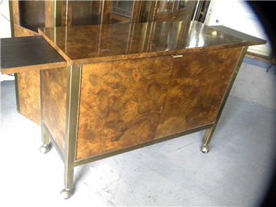 Mid century tomlinson burl walnut brass dining room serving tea cart - Dining room serving carts ...