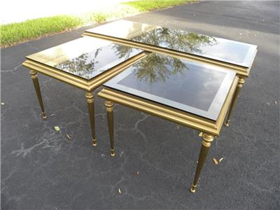 Mid century modern 3 piece brass coffee table set with glass top ebay One piece glass coffee table