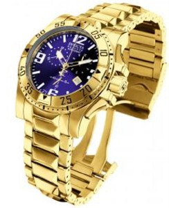 INVICTA MENS RESERVE EXCURSION SWISS QUARTZ 18k GOLD PLATED BRACELET