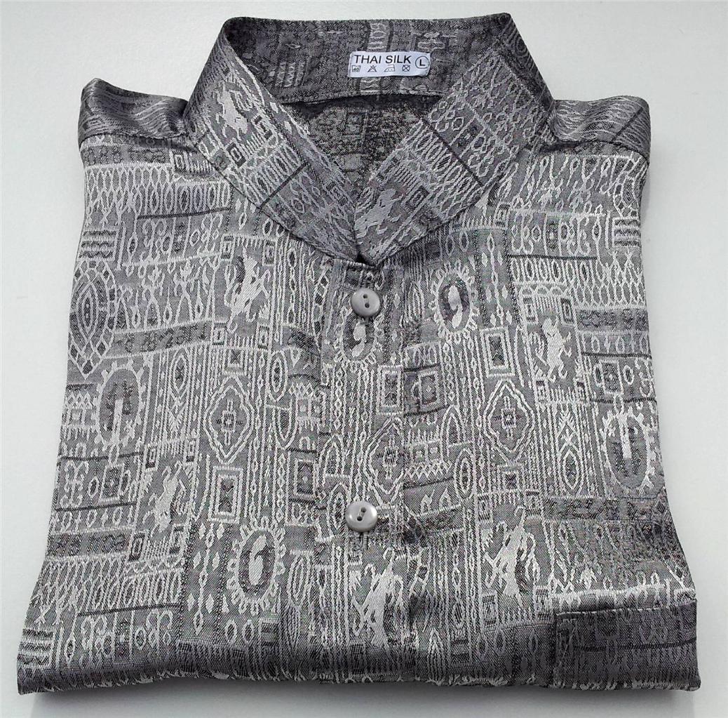 Mens jacquard weave mandarin collar thai silk shirts for Silk long sleeve shirt