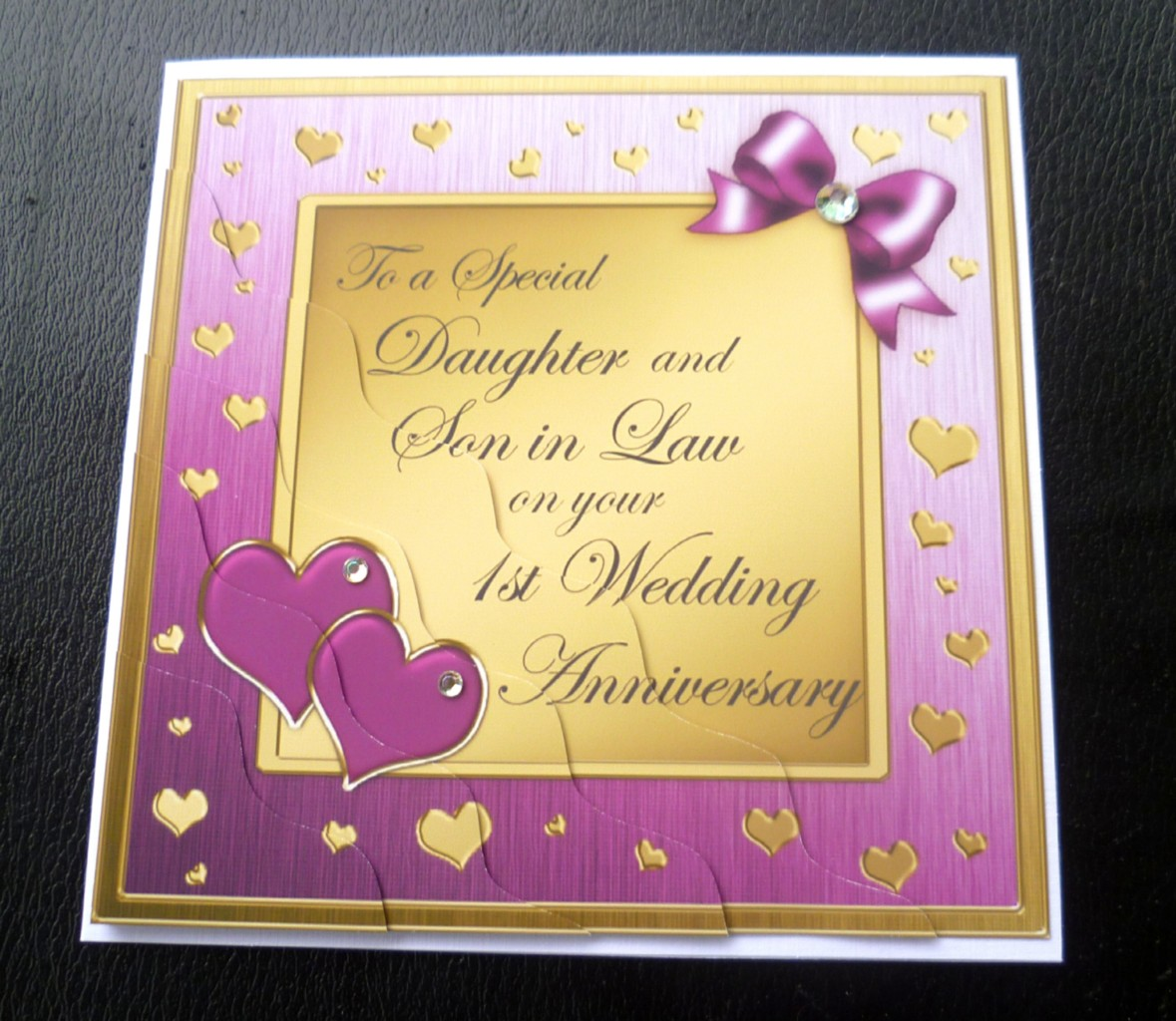 Details about Daughter & Son In Law 1st First Wedding Anniversary Card ...