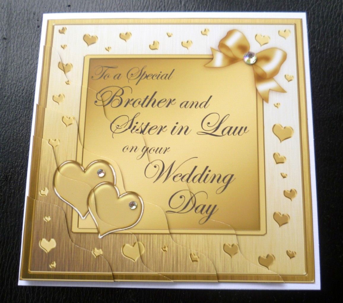 Brother Sister in Law Wedding Day Card 4 Colours