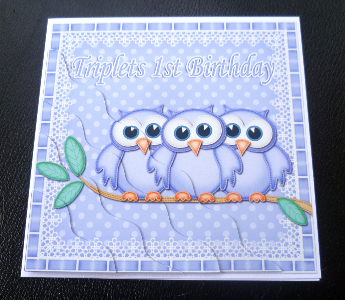Triplets-1st-Birthday-Owls-Card-boys-girls-2-boys-1-girl-or-2-girls-1-boy