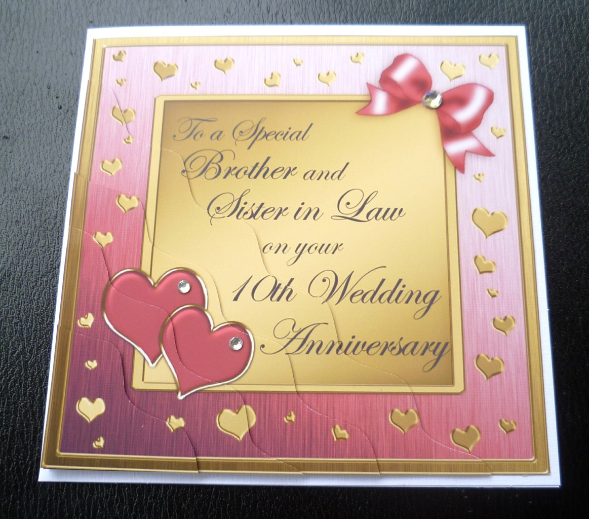 10 Year Wedding Anniversary Gift For Sister : Brother & Sister In Law 10th Wedding Anniversary Card4 Colours ...