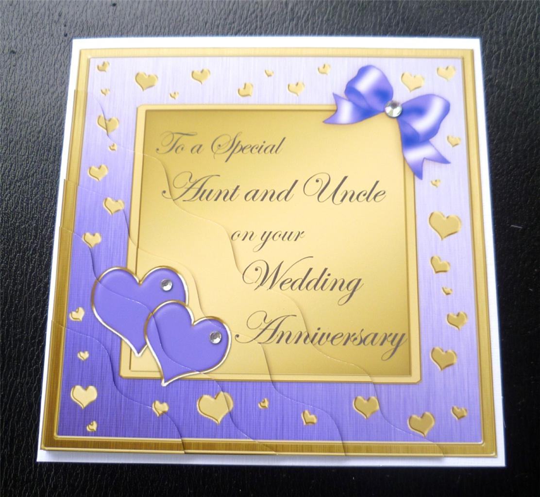 Special aunt uncle wedding anniversary card colours