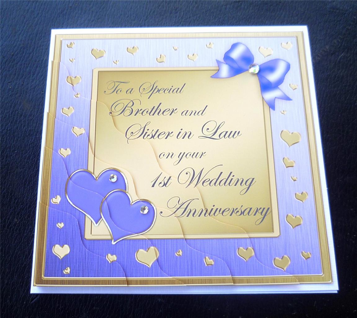 Brother sister in law st wedding anniversary card