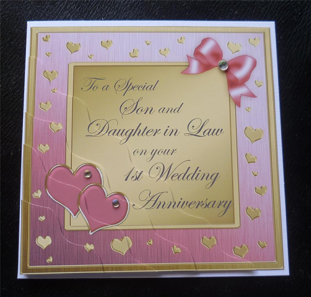 Special son daughter in law st wedding anniversary card