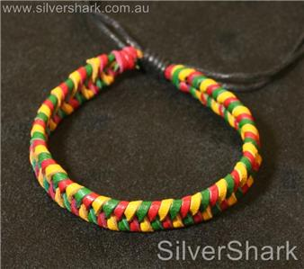 green-yellow-red-leather-cord-bracelet-durabl-waterproof-sliding-knot-closure-B3