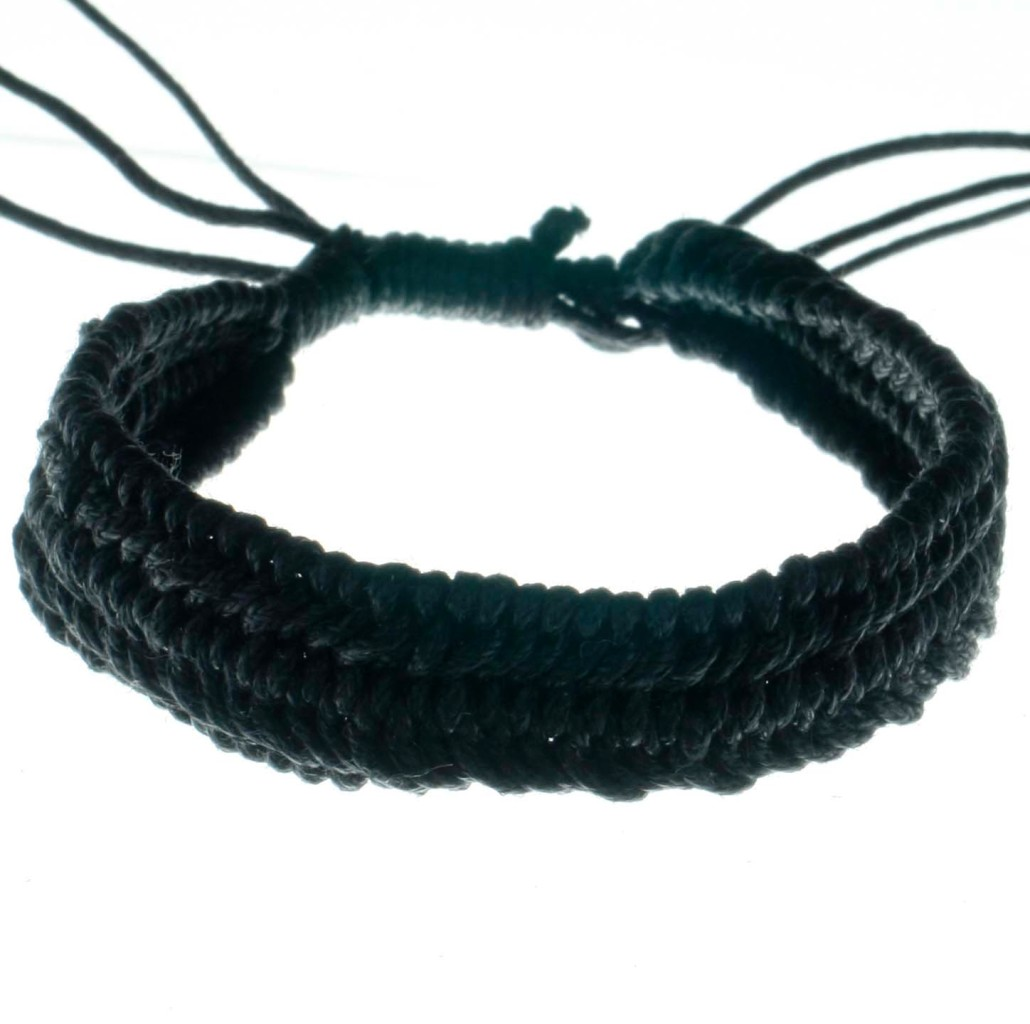 Cotton-Braided-Black-Surf-Hippie-Bracelet-Anklet-B2