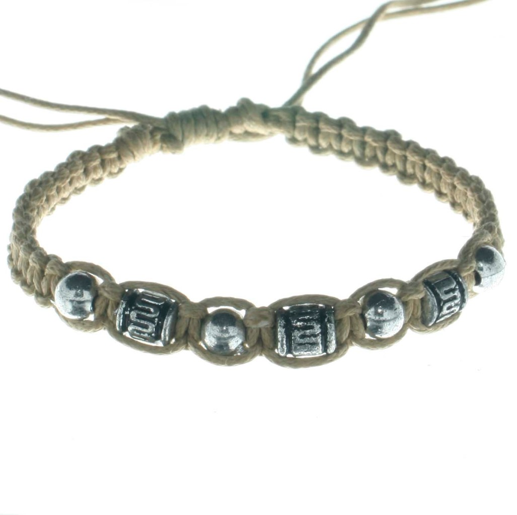 Wooden-Coconut-Silver-Colour-Beads-Bracelet-Anklet-B2