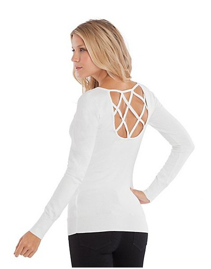 NEW GUESS JANE CRYSTAL LOGO SWEATER BACK CUT OUT SEXY KNIT ...