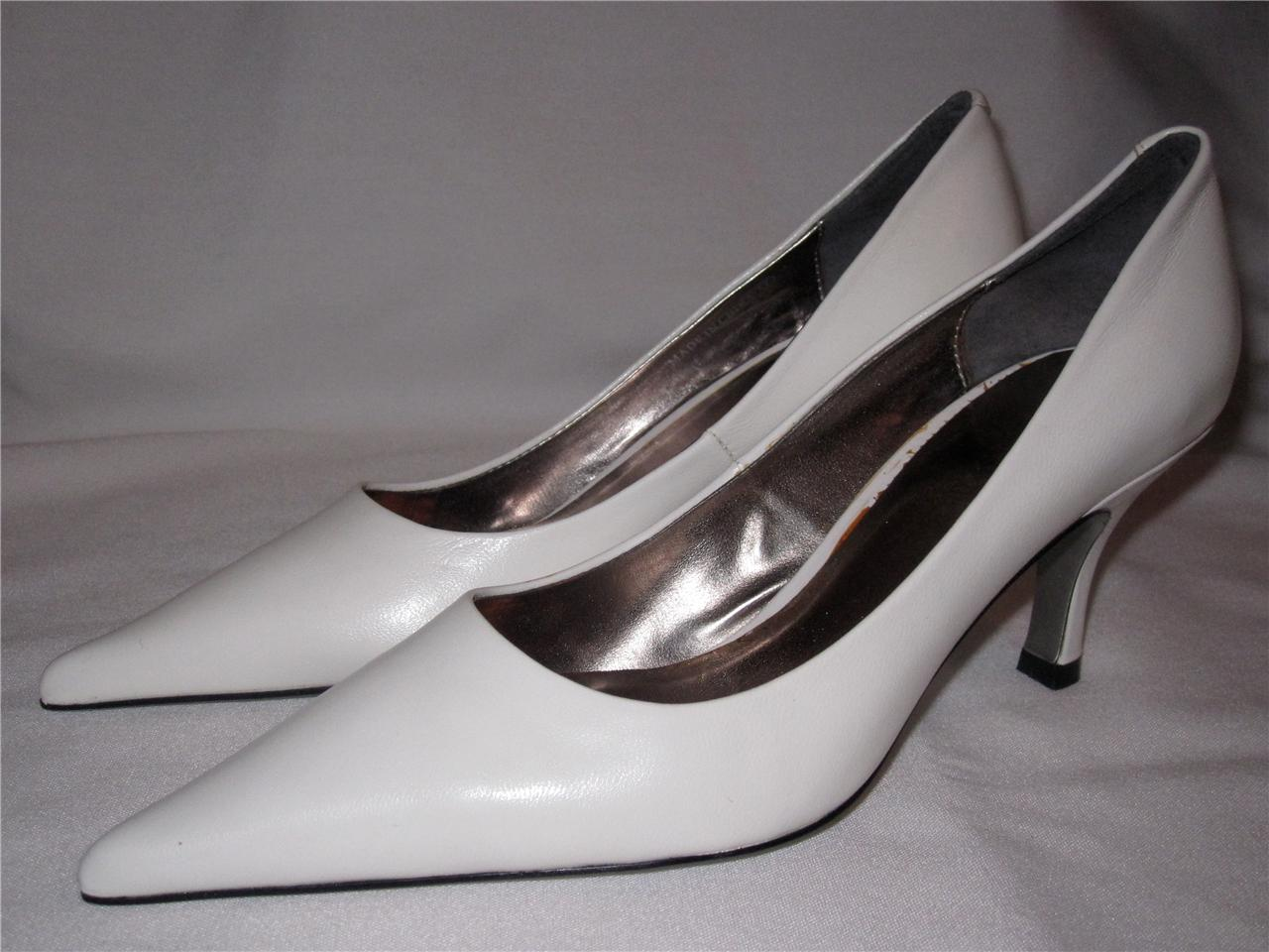 """Two Lips Telma Pumps Heels 2 1/2"""" Heel Leather Upper Classic New White or Tan"""