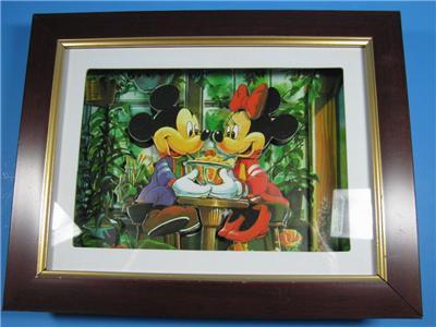 Disney Mickey Minnie Mouse Shadow Box 2D Ice Cream Shop