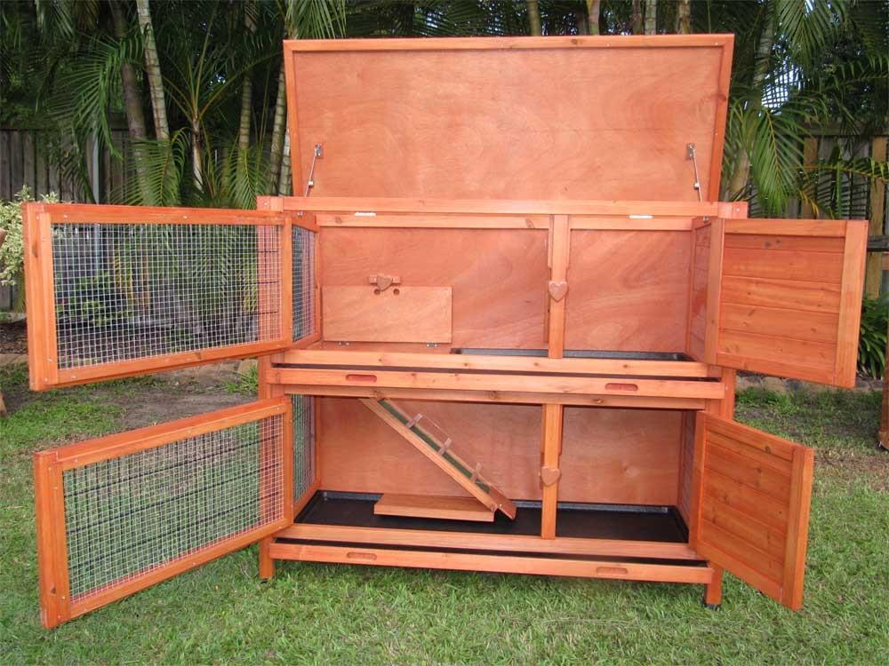 2 storey hutch rabbit guinea pig cage g104 ebay for How to build a guinea pig hutch