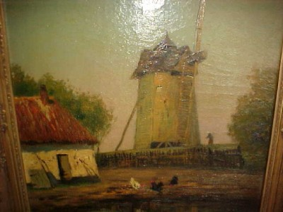 George Henry Bogert Oil Painting Windmill Scene 20X24