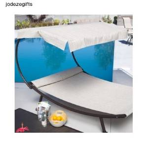 outdoor patio furniture pool chaise lounge hammock with canopy 2 person new ebay. Black Bedroom Furniture Sets. Home Design Ideas