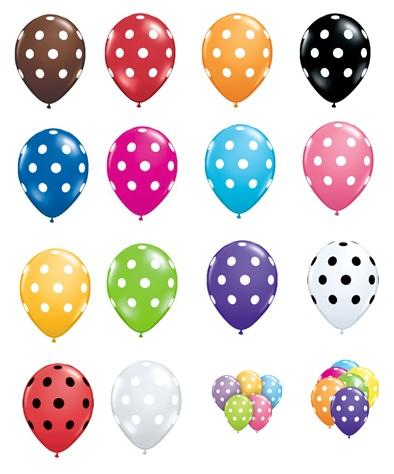 Polka Dot Balloons Choose Colors Black White Red Berry Blue
