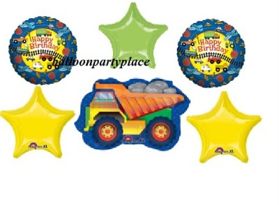 Birthday Dump Truck Mylar Balloons Party Supplies GR8 1st 2nd 3rd 4th Supplies