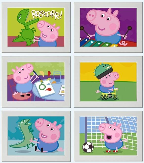 Peppa pig george picture print poster bedroom wall gift for George pig bedroom ideas