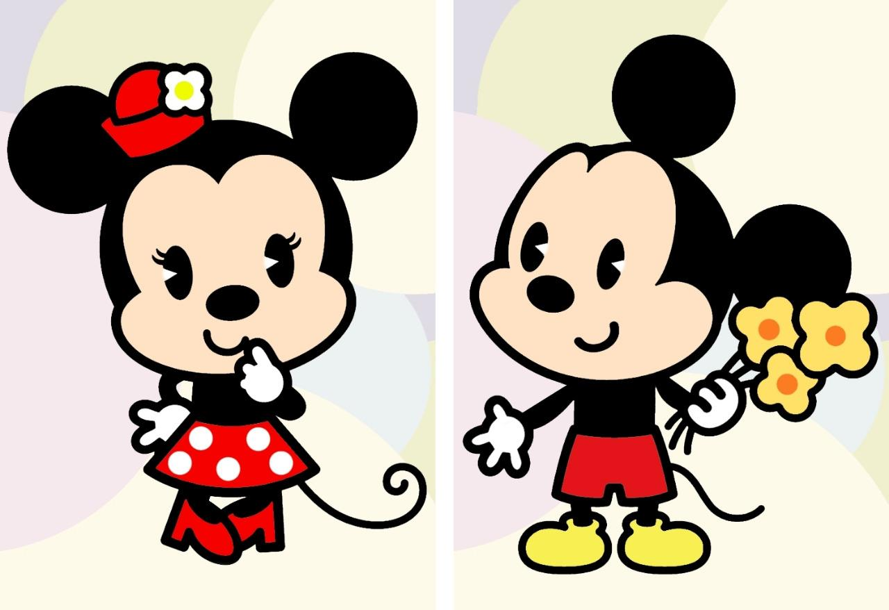 disney set 2 mickey minnie mouse cutie poster picture. Black Bedroom Furniture Sets. Home Design Ideas