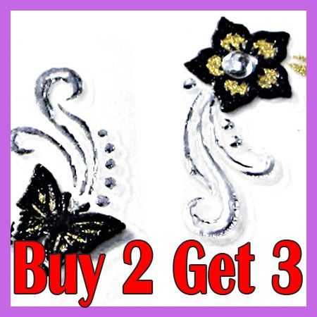 schmetterling und blumen 3d nail sticker tattoo mz02 ebay. Black Bedroom Furniture Sets. Home Design Ideas