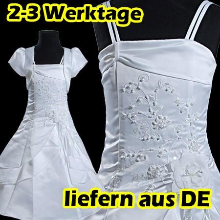 Weiss-Blumenmaedchen-Festkleid-mit-Bolero-Kommunionskleid-Kleidchen