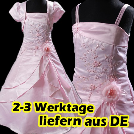 Rosa-Blumenmaedchen-Festkleid-Bolero-Kommunionkleid-Kleid